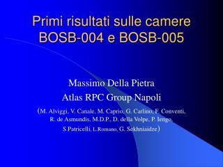 Primi risultati sulle camere BOSB-004 e BOSB-005