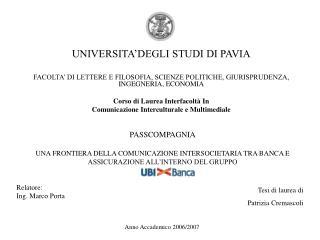 UNIVERSITA�DEGLI STUDI DI PAVIA