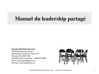 Ontario Self-Help Network Self-Help Resource Centre 40 Orchard View Boul. Suite 219