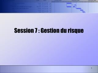 Session 7 : Gestion du risque