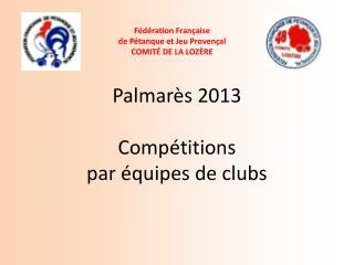 Palmarès 2013 Compétitions  par équipes de clubs