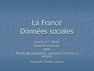 La France Données sociales