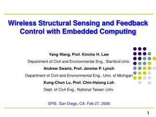 Wireless Structural Sensing and Feedback Control with Embedded Computing