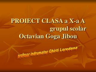 PROIECT CLASA a X-a A                          grupul scolar Octavian Goga Jibou