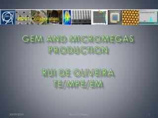 GEM and  Micromegas  production Rui  De Oliveira TE/MPE/EM