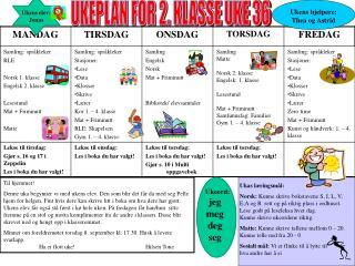 UKEPLAN FOR 2. KLASSE UKE 36