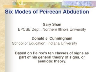 Six Modes of Peircean Abduction