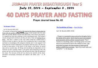 JRM-AUH PRAYER BREAKTHROUGH Year 5 July 27, 2014 – September 5 , 2014