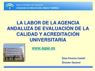 LA LABOR DE LA AGENCIA ANDALUZA DE EVALUACIÓN DE LA CALIDAD Y ACREDITACIÓN UNIVERSITARIA