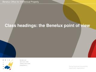 Class headings: the Benelux point of view