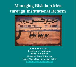 Managing Risk in Africa  through Institutional Reform