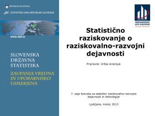 Statistično raziskovanje o raziskovalno-razvojni dejavnosti