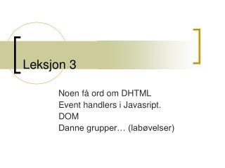 Leksjon 3