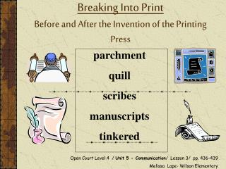 Breaking Into Print Before and After the Invention of the Printing Press