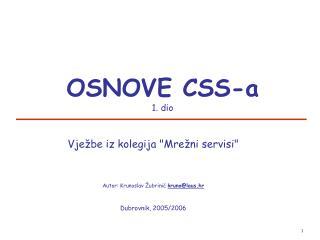 OSNOVE CSS-a  1. dio