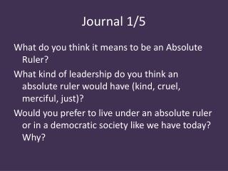 Journal 1/5