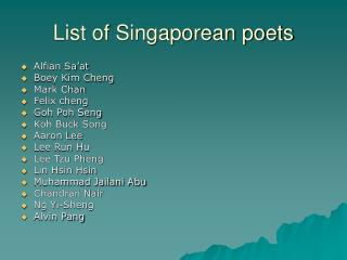 List of Singaporean poets