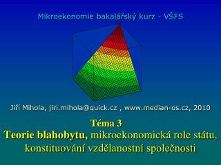 Teorie blahobytu,  mikroekonomická role státu, konstituování vzdělanostní společnosti