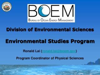 Division of Environmental Sciences Environmental Studies Program