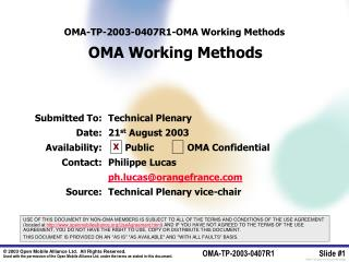 OMA-TP-2003-0407 R1 - OMA Working Methods OMA Working Methods