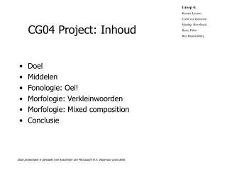 CG04 Project: Inhoud