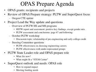 OPAS Prepare Agenda