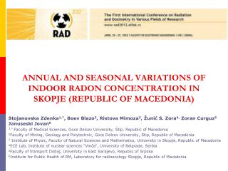 Annual and seasonal variations of indoor radon concentration in Skopje (Republic of Macedonia)