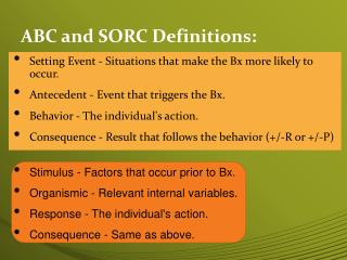 ABC and SORC Definitions: