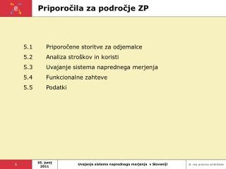 Priporočila za področje ZP
