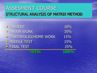 ASSESMENT COURSE STRUCTURAL ANALYSIS OF MATRIX METHOD