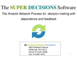 The Analytic Network Process for  decision making with dependence and feedback