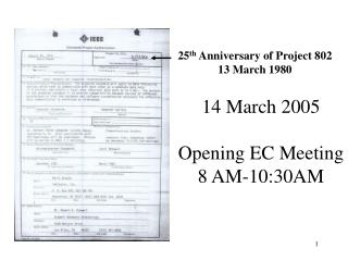 14 March 2005 Opening EC Meeting 8 AM-10:30AM