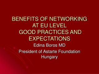 BENEFITS OF NETWORKING AT EU LEVEL  GOOD PRACTICES AND EXPECTATIONS