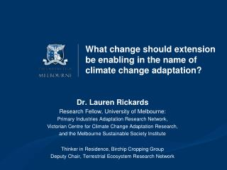 What change should extension be enabling in the name of climate change adaptation?