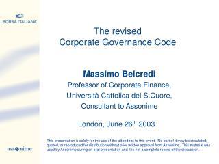 Massimo Belcredi Professor of Corporate Finance, Università Cattolica del S.Cuore,