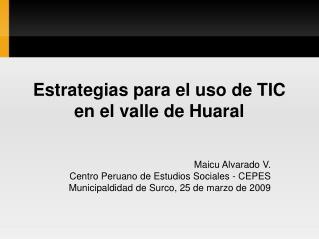 Estrategias para el uso de TIC en el valle de Huaral