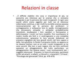 Relazioni in classe