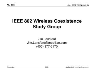 IEEE 802 Wireless Coexistence Study Group