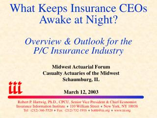 What Keeps Insurance CEOs Awake at Night? Overview & Outlook for the  P/C Insurance Industry