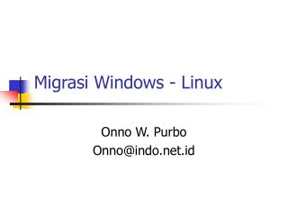Migrasi Windows -  Linux