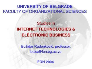 UNIVERSITY OF BELGRADE FACULTY OF ORGANIZATIONAL SCIENCES