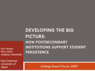Developing the Big Picture:  How Postsecondary Institutions Support Student Persistence
