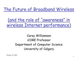 "The Future of Broadband Wireless (and the role of ""awareness"" in wireless Internet performance)"