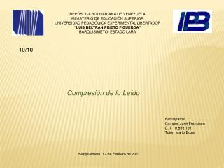 REPÚBLICA BOLIVARIANA DE VENEZUELA MINISTERIO DE EDUCACIÓN SUPERIOR