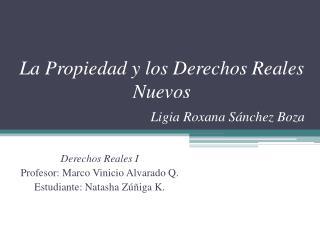 La Propiedad y los Derechos Reales Nuevos Ligia Roxana Sánchez Boza