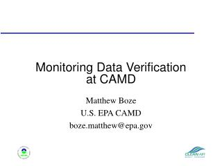 Monitoring Data Verification  at CAMD