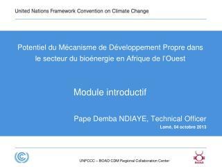 Potentiel du Mécanisme de Développement Propre dans le secteur du bioénergie en Afrique de l'Ouest