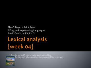 Lexical analysis {week 04}