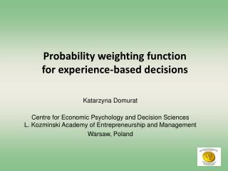 Probability weighting function  for experience-based decisions