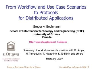 From Workflow and Use Case Scenarios  to Protocols  for Distributed Applications